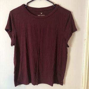 American Eagle Soft & Sexy Crop T-Shirt- Maroon